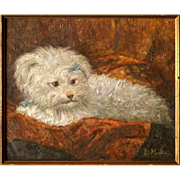 SOLD Superb 19thC French dog portrait painting by highly listed Master Daniel Merlin ( 1861-19