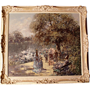 SOLD Superb romantic painting by German impressionist Master Hans Becker. Top Quality! Highly