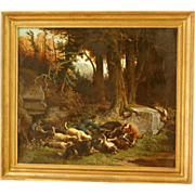 SOLD 1 WEEK Reduced!  Superb 19thC dog hunting scene by Ferdinand Marinus ( 1808-1890). Highly
