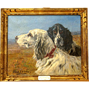 SOLD Superb 1920 French hunting dogs portrait painting by Marie Calves ( 1883-1957). Highly li