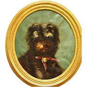 SOLD Charming very rare and early 1868 French dog portrait painting, signed and dated.