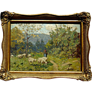 SOLD Superb 1900 impressionistic landscape painting with sheep by Sophus T Levinsen ( 1869-194