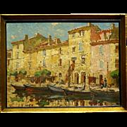 "SOLD Superb 1900 impressionistic  painting ""Martigues harbour view"" by Sophus T Levi"