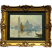"SOLD Superb 1900 impressionistic painting "" Venice view"" by Sophus T Levinsen ( 1869"