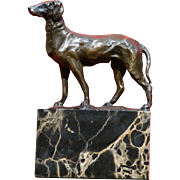 SOLD Superb 1900 bronze sculpture of hunting dog by French Master Louis Carvin ( 1875-1951)
