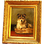 SOLD Superb end 19thC dog portrait painting by Master C Geerinck ( 1862-1919). Top Museum qual