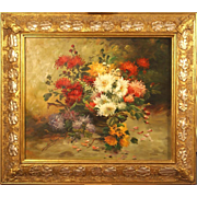 SOLD Superb impressionist flower still life 1930 by highly listed French Master A Drumaux. Mus