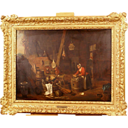 REDUCED Superb 17thC kitchen interior painting, Flemish Master Teniers, oil on panel, museum q