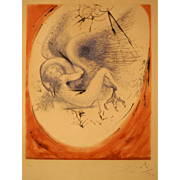 "SOLD Salvador Dali, etching 1964, 62/150, signed. Original 1964 etching "" Leda and the Sw"