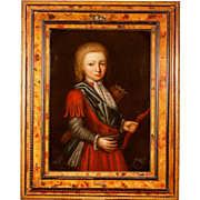 SALE Dutch 17thC painting, portrait of a noble boy, depicted as hunter. Great painting! Michie