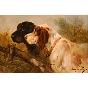 SALE Superb 1900 portrait painting two hunting dogs by Henry Schouten ( 1857-1927). Great anti