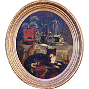 SOLD Superb 1874 cats in interior, French Master antique painting by G Colsoulle (1843-1895).