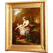 SALE PENDING Superb 18thC romantic German Austrian painting by G M Fuchs, mother with child in