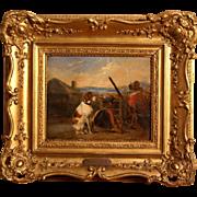 SOLD Superb 1850 painting by Henri Leys ( 1815-1869). Hunting dog and hunter resting in landsc