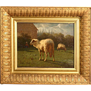 REDUCED Superb 1864 Master painting by Louis Robbe ( 1806-1887). Signed and dated. Sheep in la