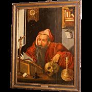 """SALE 16th C oil on oak panel, museum quality painting, Flemish, studio J van Cleve, """"Sain"""