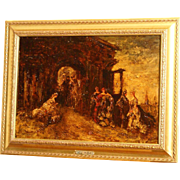 SOLD Great 19thC impressionist French Painting, Monticelli, landscape with ladies, on panel.