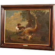 REDUCED Great 17C painting, hunting scene in landscape with hunting dog and deer, Flemish ...