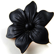 Victorian Mourning Vulcanite Flower Brooch