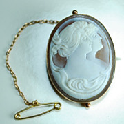 Victorian 9ct Rose Gold Double Portrait Shell Cameo Brooch