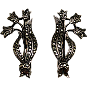 Pair Vintage Germany 935 Marcasite Dress Clips