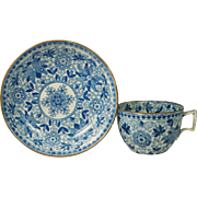 Antique Circa 1820 English Blue and White Transferware Cup and Saucer Pearlware Adams Tendril