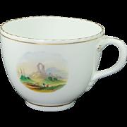 Antique English Cup Hand Painted Landscape Scene Georgian Era Circa 1830