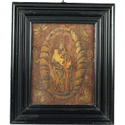 17th Century Straw Work Marquetry Religious Panel Madonna and Child Circa 1600s