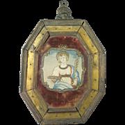 Antique 18th Century Baroque Devotional Needlework Saint Lucy Of Syracuse Original Frame Circa