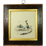 SALE PENDING Antique Watercolor Painting Boy and Dog Charming Frame 1870