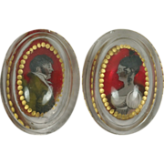 SALE Georgian Glass Salt PAIR Reverse Painted Portraits Bohemian Circa 1810