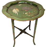 Antique English Chinoiserie Paper Mache Tray On Stand Circa 1840 AF
