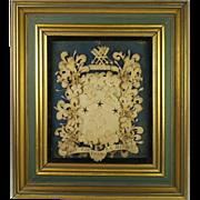 Antique Georgian Cut Paper Picture Coat of Arms Rare English Armorial Circa 1700s