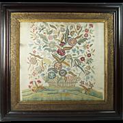 Georgian Silkwork Embroidery Finest Needlework Stitches English Circa 1790