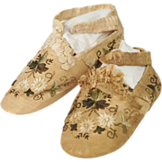 SOLD RESERVED AW Antique Victorian Baby Shoes Silk Embroidered English Circa 1850 AF