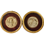 19th Century French Large Devotional High Relief Roundel Pair Mary Jesus Circa 1850