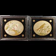 Georgian Silkwork Pair English Birds Rare Circa 1780's