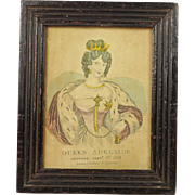 Circa 1831 Miniature Engraving Queen Adelaide English Lovely Frame