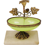 Antique Green Opaline Glass Stand French Circa 1860