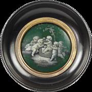 Georgian Miniature Papier Mache Panel En Grisaille Circa 1780