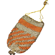 18th Century Purse Knitted Silk Silverwork English Circa 1780 Provenance