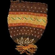 Antique Georgian Reticule Purse Finely Knitted Beaded 1815 Regency