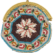 Circa 1815 French Beaded Coin Purse Beadwork Ormolu Frame Regency Era AF