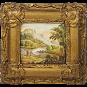 SALE PENDING Circa 1840 English Miniature Hand Painted Porcelain Plaque Topographical River La
