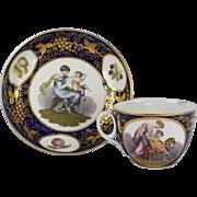 SALE PENDING Circa 1812 Regency Adam Buck New Hall Porcelain Cup and Saucer Pattern 1277