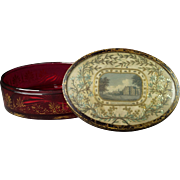 Georgian Cranberry Glass Box with Silkwork Lid of Panton House England Circa 1815 Rare