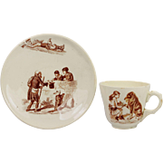 SALE Antique Childrens Creamware Dog Cup and Saucer Circa 1870