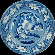 SALE PENDING English Pearlware Plate Blue and White Transferware  Sheep Shearer Pattern Regenc