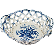 Victorian Blue and White Chestnut Basket Booths Copy of 18th C Worcester Pine Cone Pattern