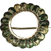 Georgian Brooch Green Foil Paste Pin Circa 1780